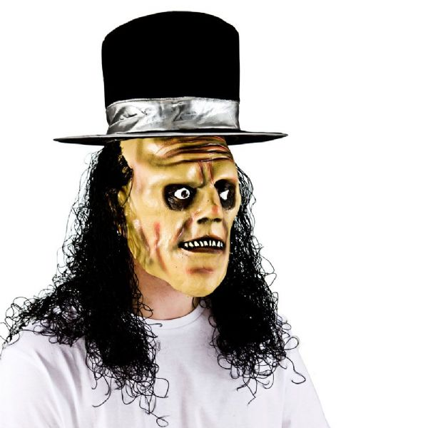 Adult Unisex Creepy Undertaker with Hair Hat for Halloween Disguise Fancy Dress